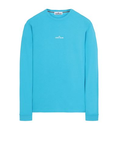 STONE ISLAND 2ML82 'STENCIL THREE' T-shirt manches longues Homme Turquoise EUR 149