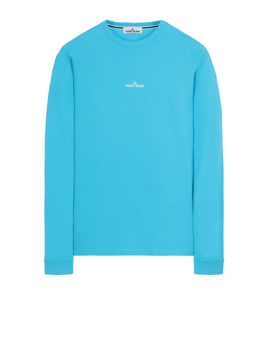 STONE ISLAND 2ML82 'STENCIL THREE' Long sleeve t-shirt Man Turquoise