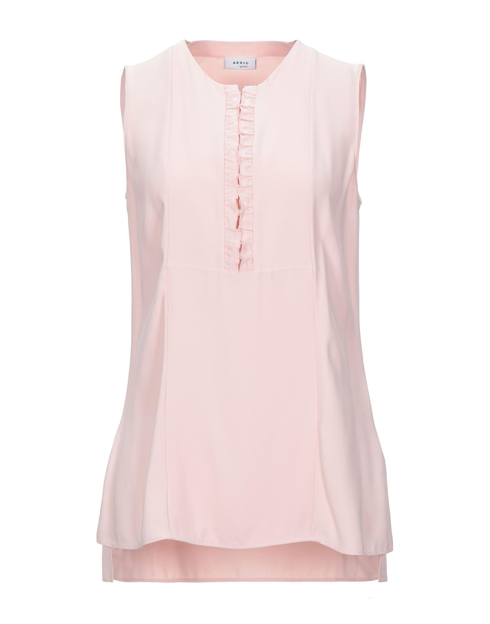 AKRIS PUNTO Tops. plain weave, ruffles, basic solid color, round collar, sleeveless, front closure, zipper closure. 52% Viscose, 48% Acetate