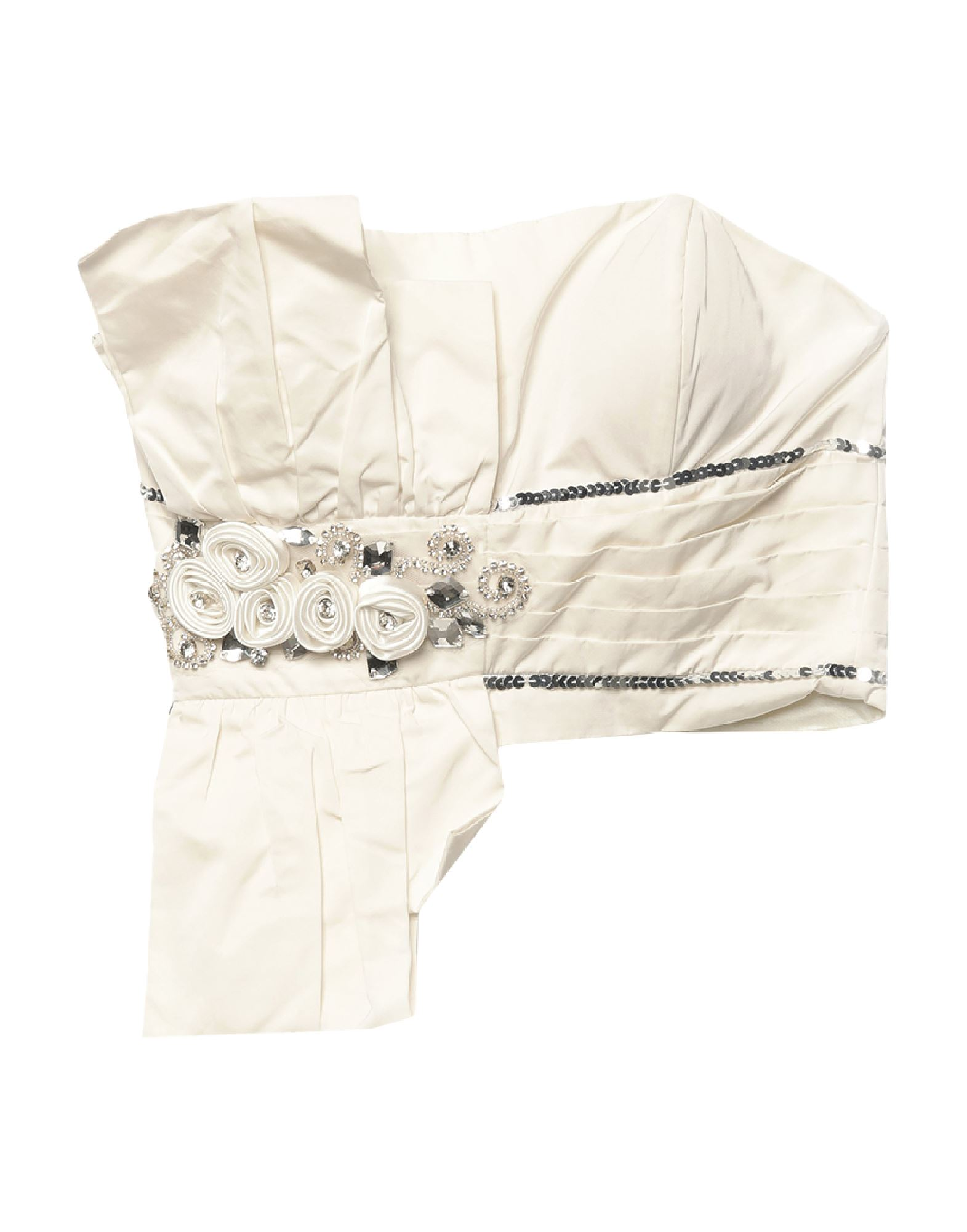 MM6 MAISON MARGIELA Tube tops. plain weave, rhinestones, sequins, solid color, square neckline, sleeveless, rear closure, zipper closure, no pockets. 100% Polyester