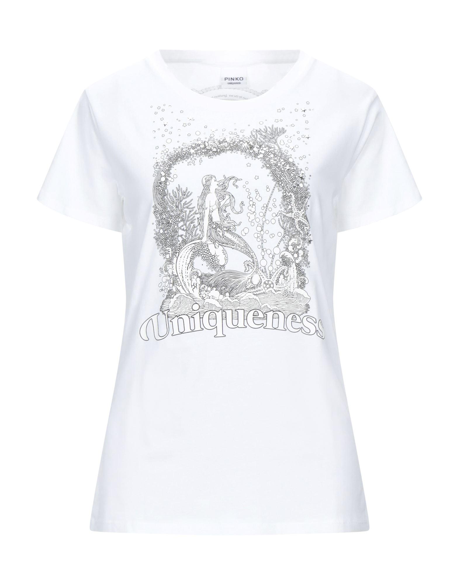 《セール開催中》PINKO UNIQUENESS レディース T シャツ ホワイト XS コットン 100% / ガラス / アルミニウム