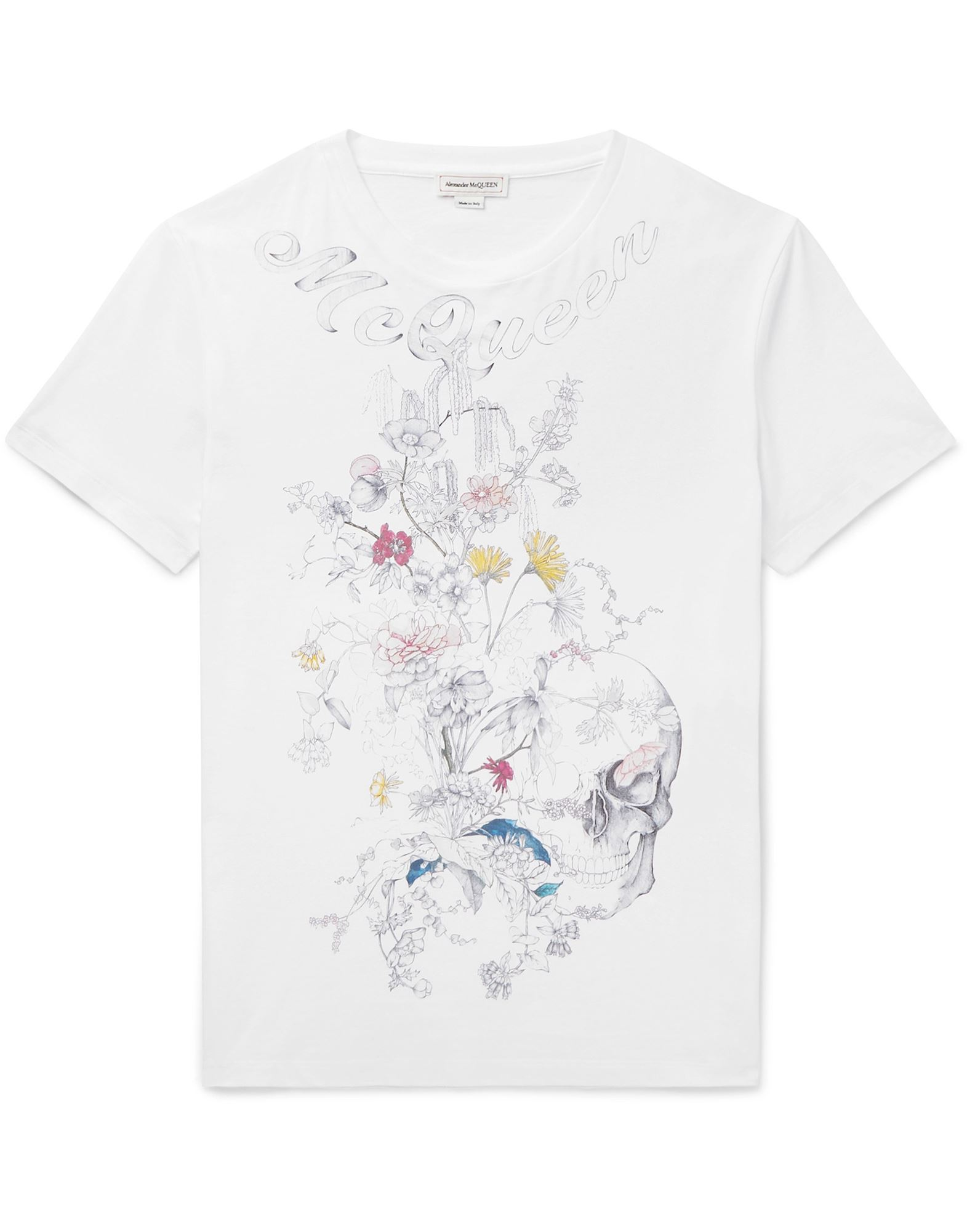 ALEXANDER MCQUEEN T-shirts. jersey, print, solid color, round collar, short sleeves, no pockets, large sized. 100% Cotton