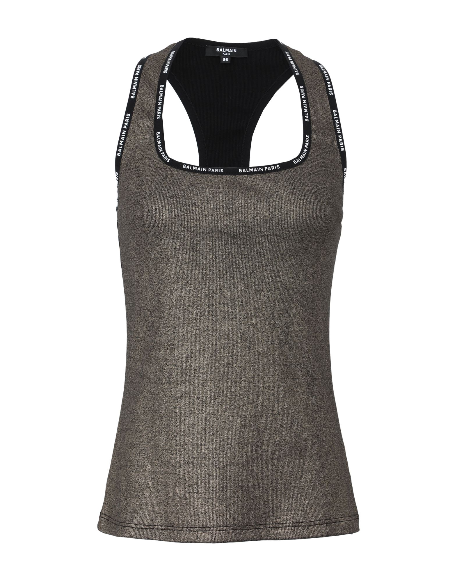 BALMAIN Tank tops. jersey, laminated effect, logo, solid color, square neckline, sleeveless, stretch. 95% Cotton, 5% Elastane