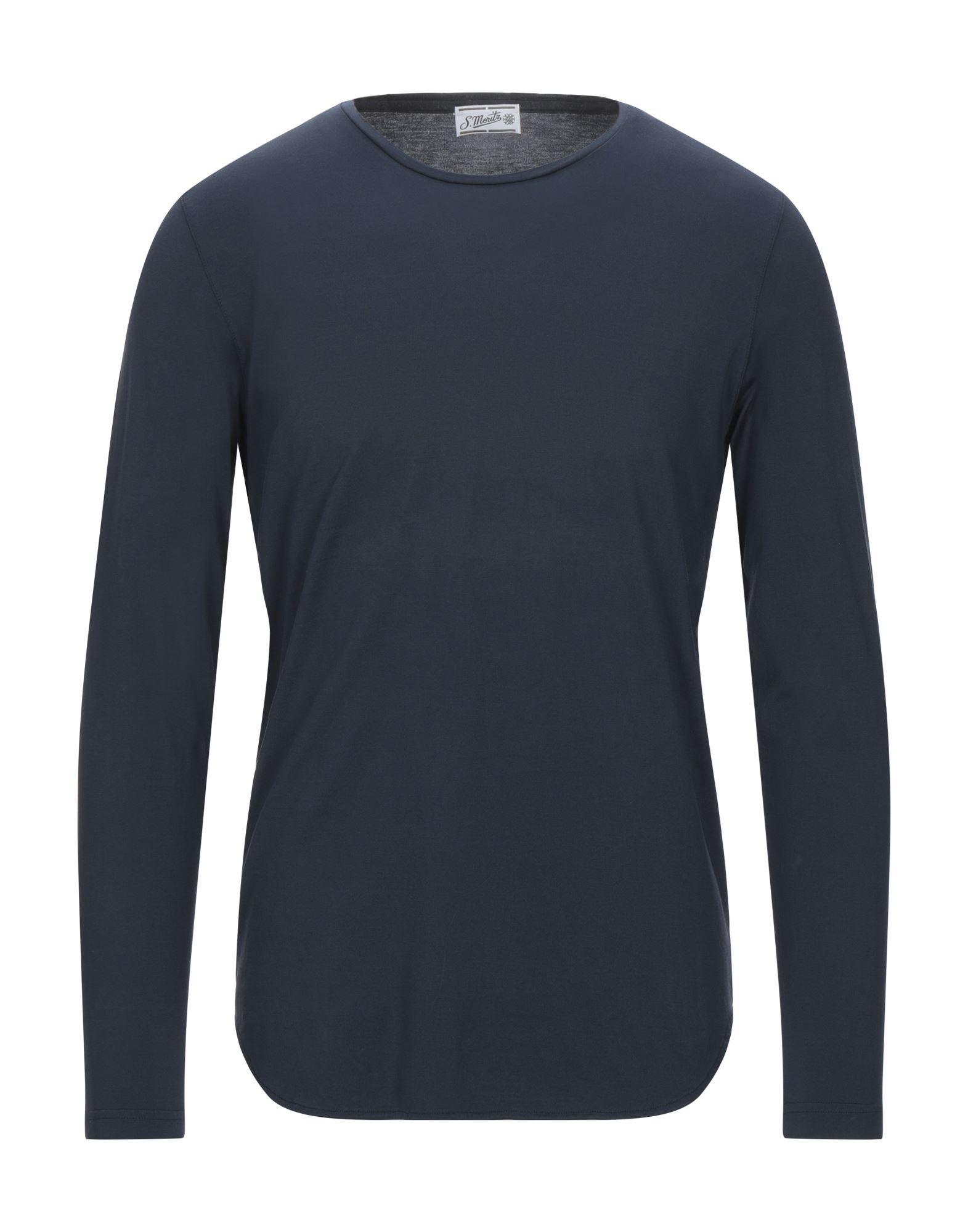 《セール開催中》S. MORITZ メンズ T シャツ ブルー 48 ウール 100%