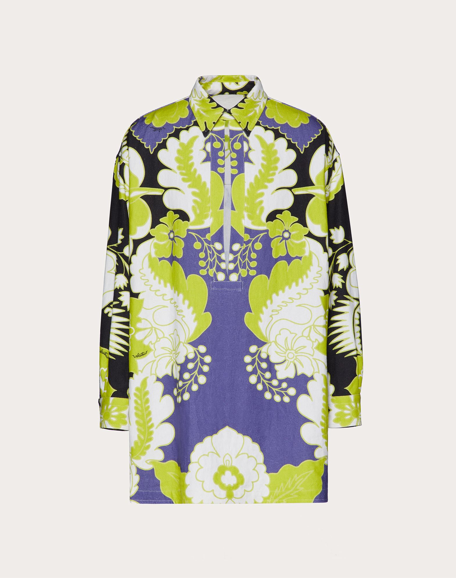 Valentino VALENTINO UOMO HEMP SHIRT WITH WORLD ARAZZO PRINT