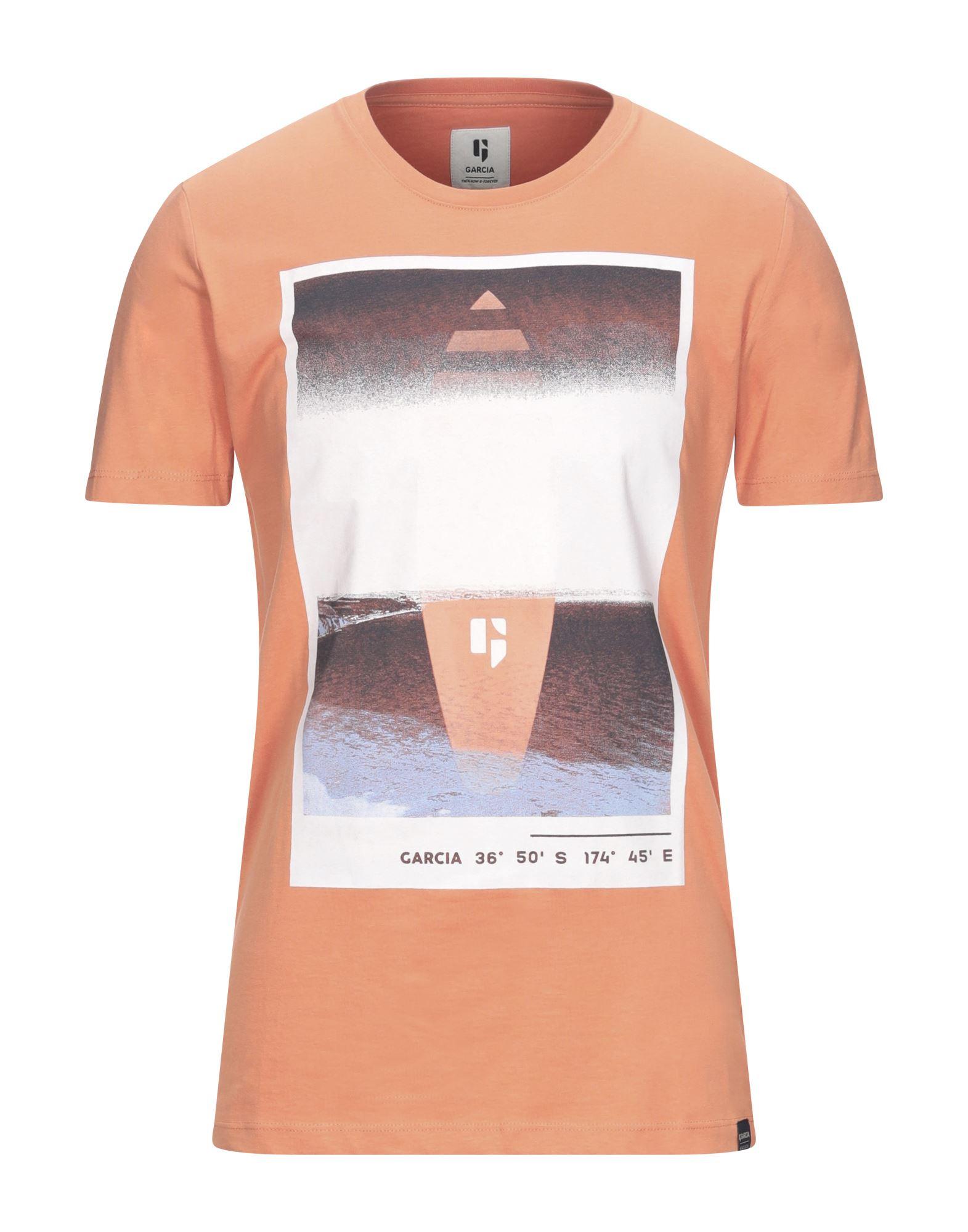 《セール開催中》GARCIA メンズ T シャツ あんず色 S コットン 100%