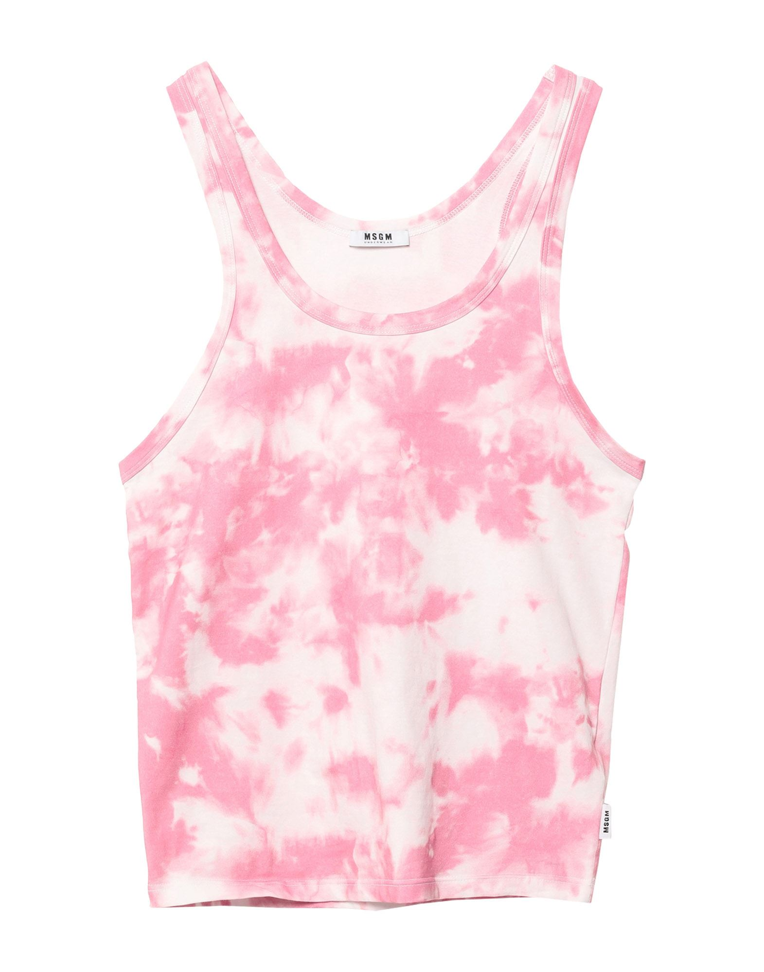 MSGM Tank tops. jersey, logo, two-tone, wide neckline, sleeveless, no pockets, stretch, any incidental differences in the material\\\'s pattern are a guarantee of the product\\\'s originality, large sized. 94% Cotton, 6% Elastane