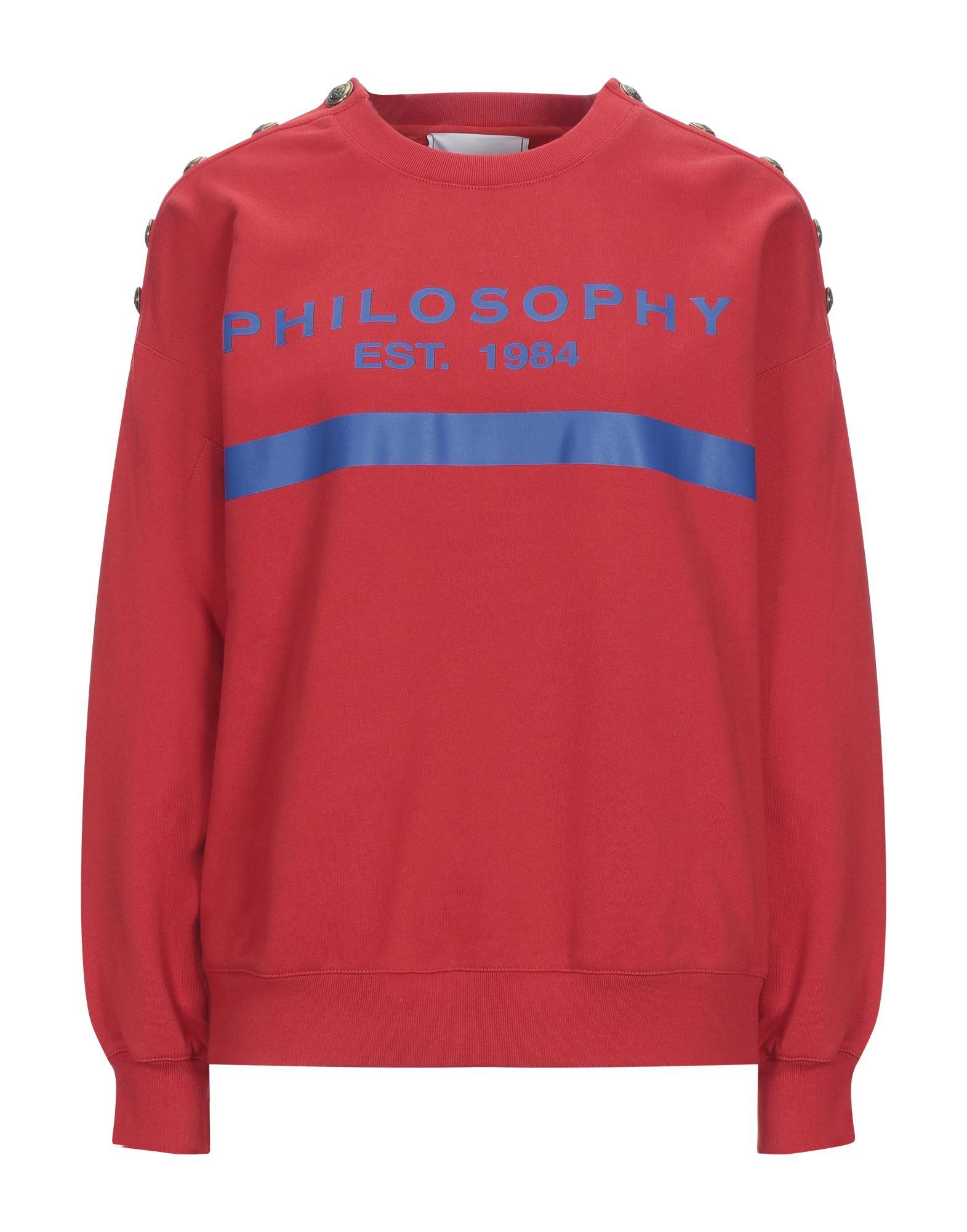 PHILOSOPHY di LORENZO SERAFINI Sweatshirts. sweatshirt fleece, logo, solid color, round collar, long sleeves, no pockets, french terry lining. 100% Cotton