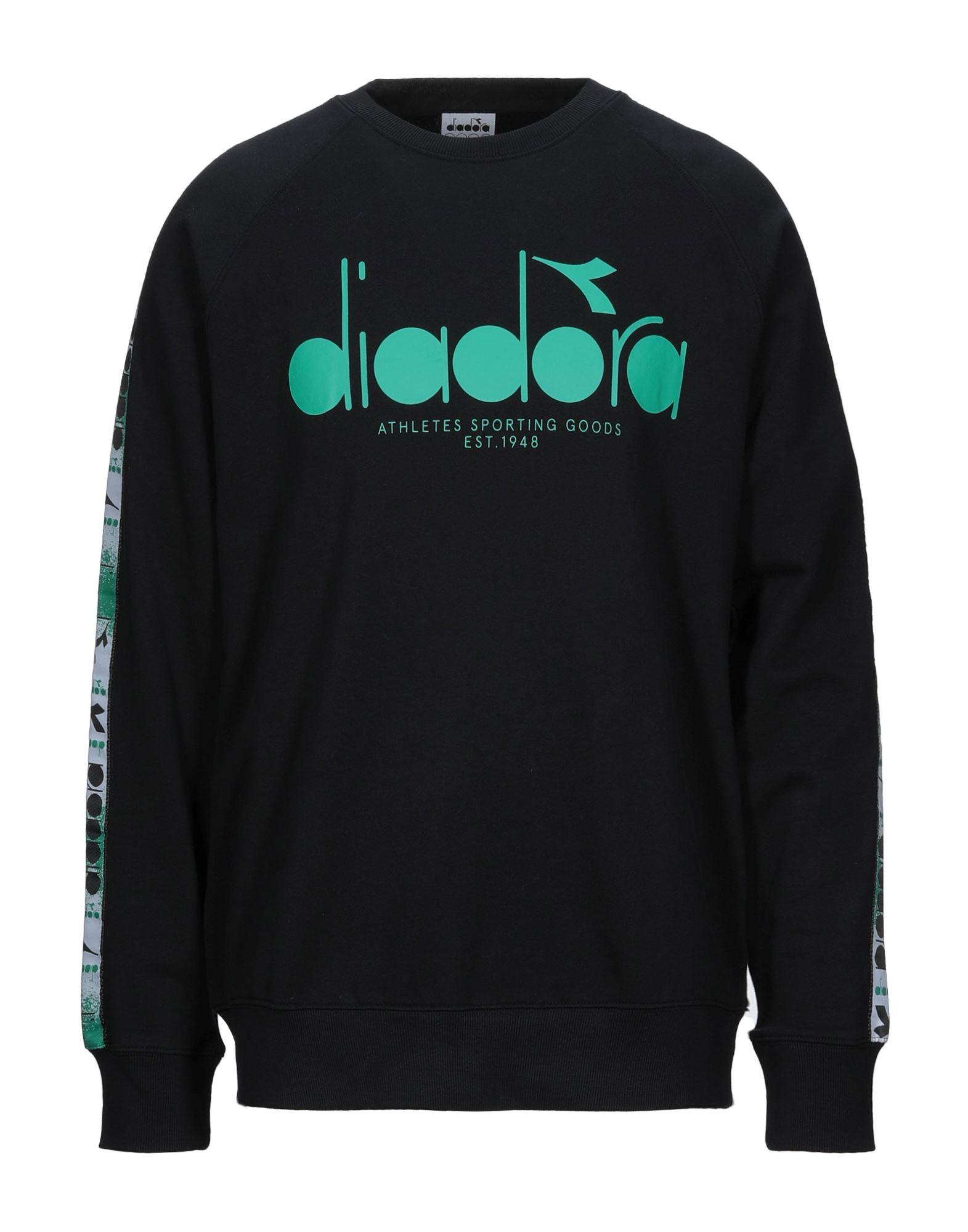 《セール開催中》DIADORA メンズ スウェットシャツ ブラック S コットン 100%