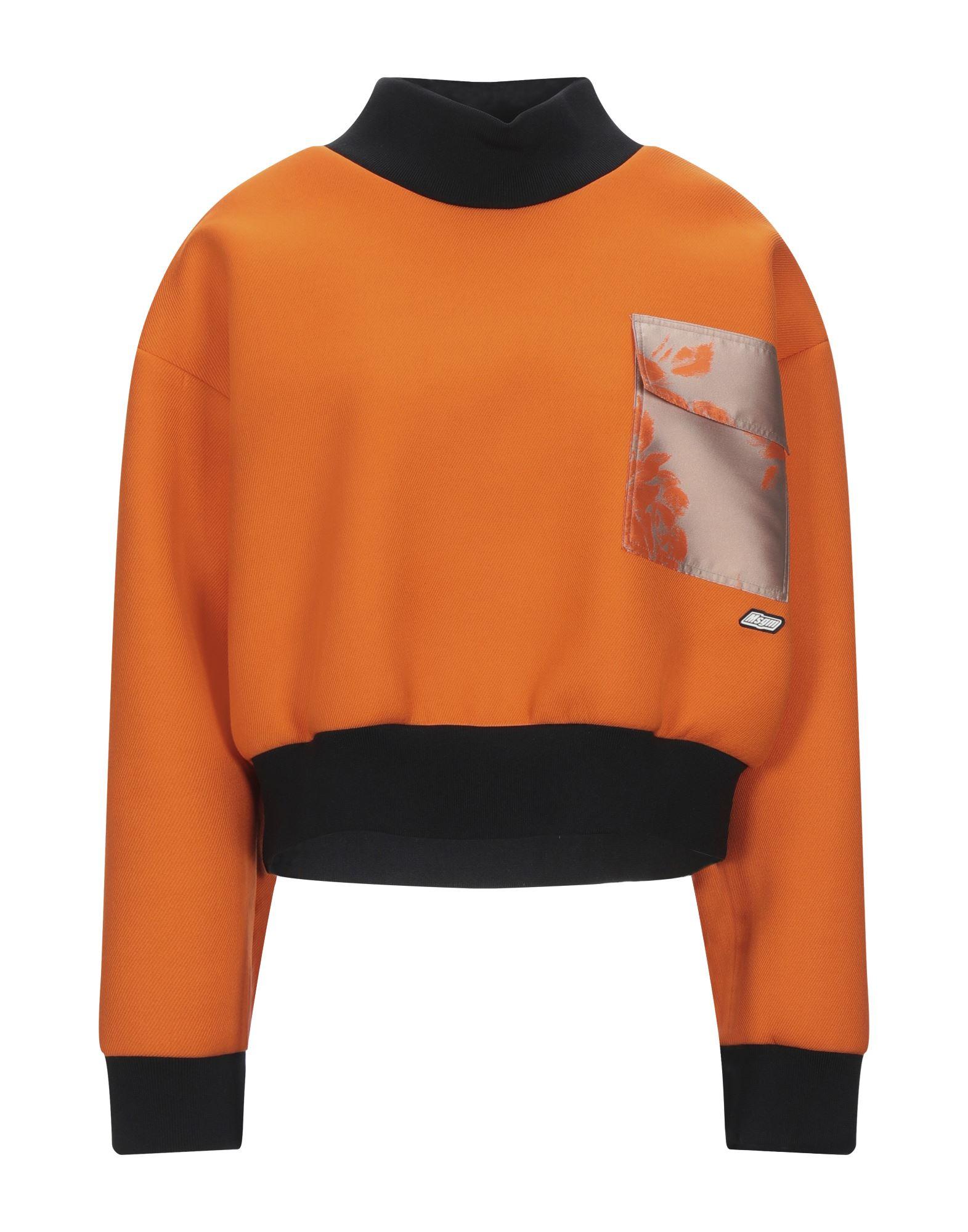 《セール開催中》MSGM レディース スウェットシャツ オレンジ 40 レーヨン 68% / ポリエステル 18% / ポリ尿素 14%