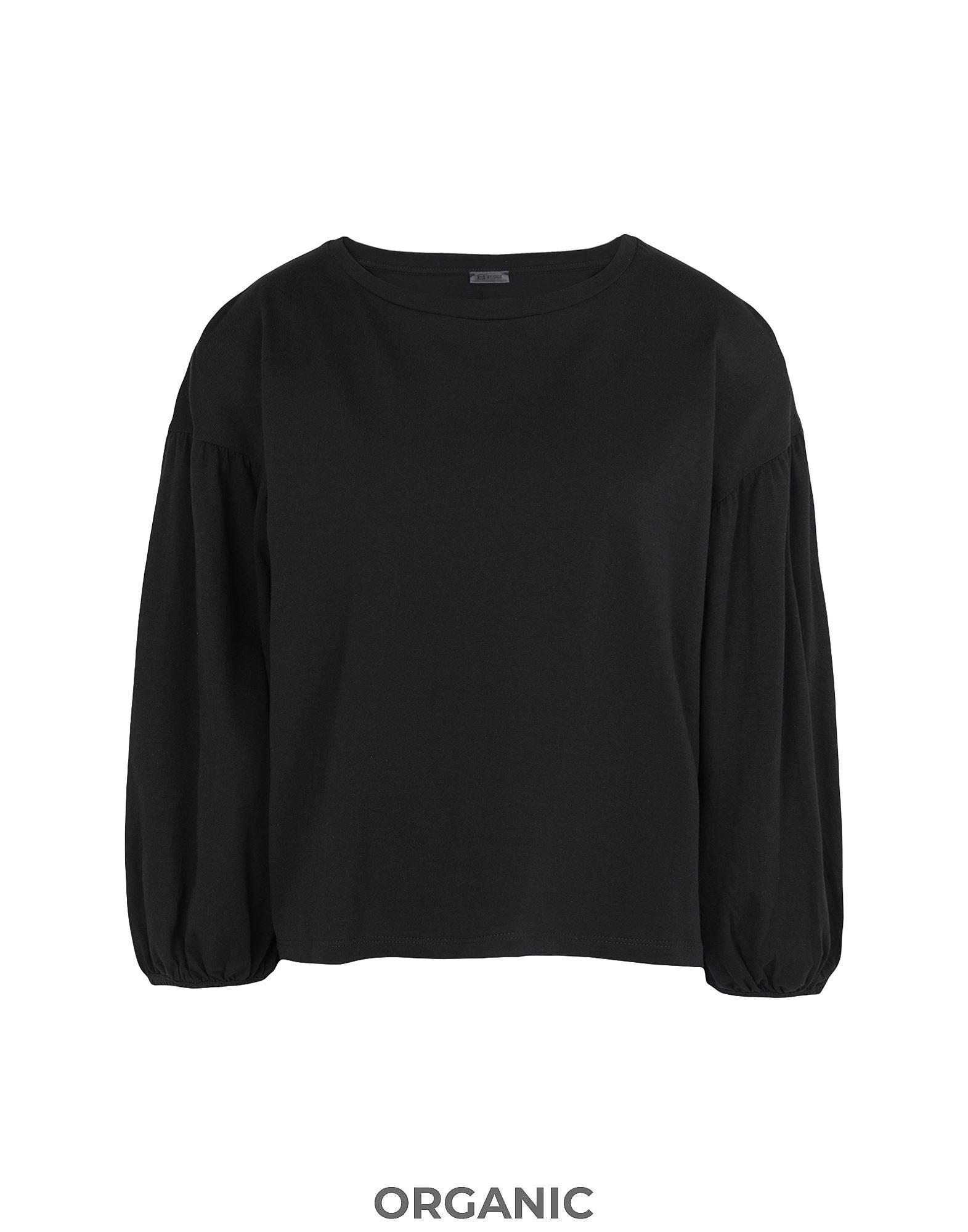 《セール開催中》8 by YOOX レディース T シャツ ブラック XS オーガニックコットン 100% ORGANIC COTTON JERSEY PUFF SLEEVE SWEATSHIRT