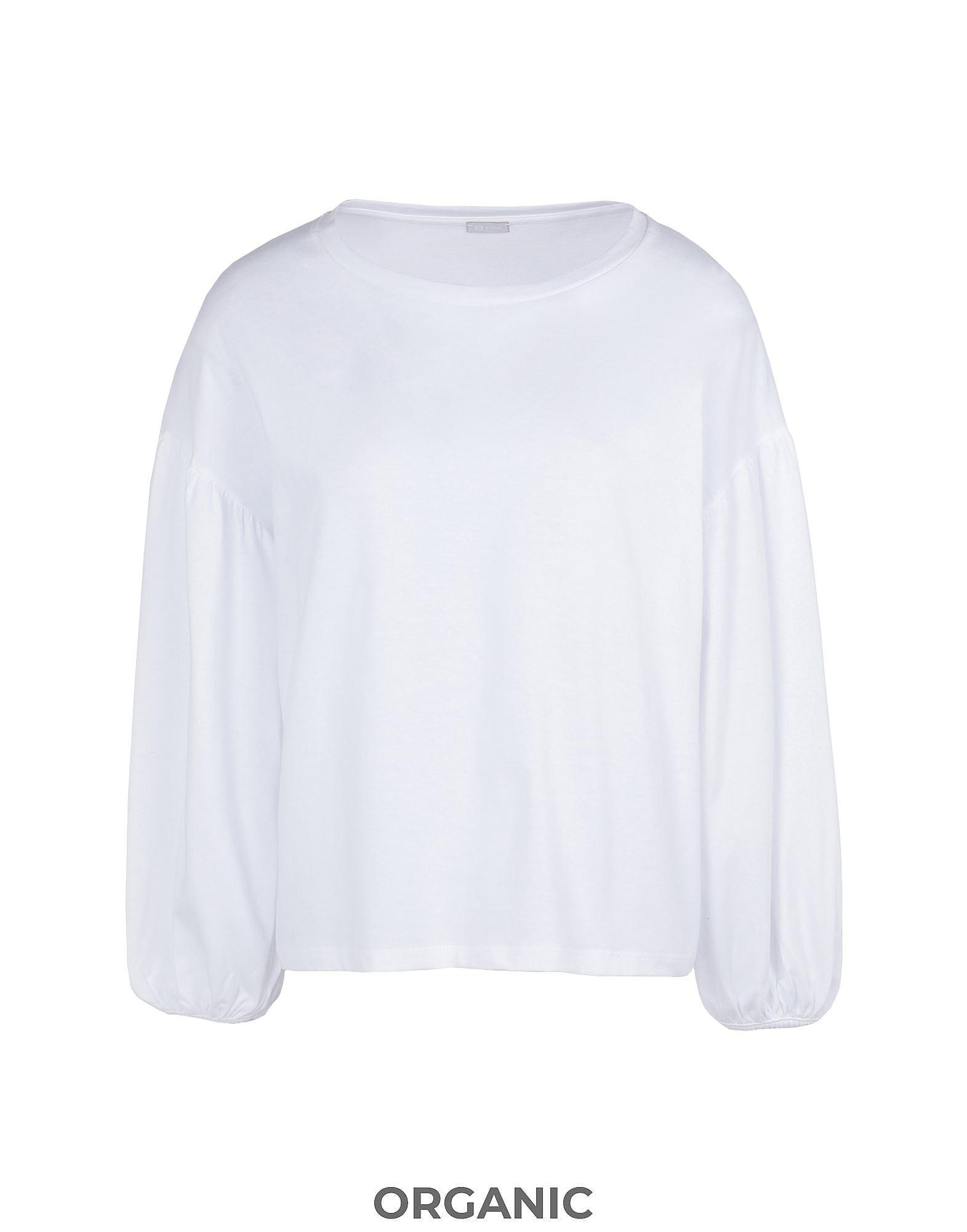 《セール開催中》8 by YOOX レディース T シャツ ホワイト XS オーガニックコットン 100% ORGANIC COTTON JERSEY PUFF SLEEVE SWEATSHIRT
