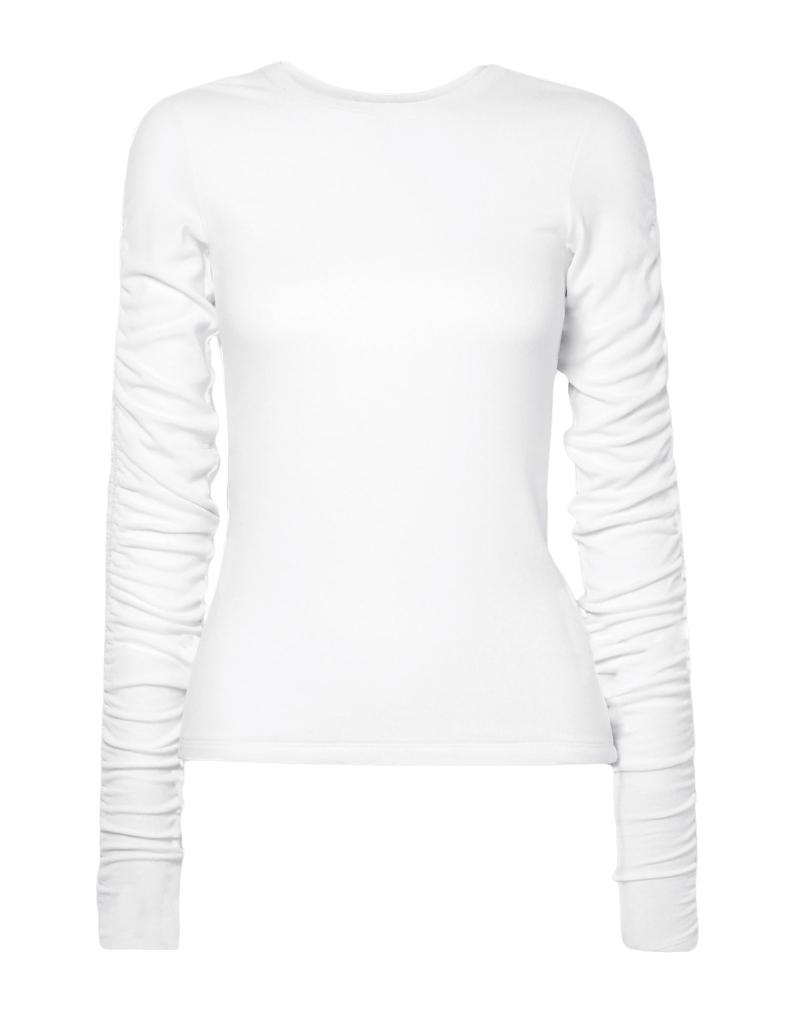 VERONICA BEARD T-shirts. jersey, frills, basic solid color, round collar, long sleeves, no pockets, stretch. 96% Modal, 4% Elastane