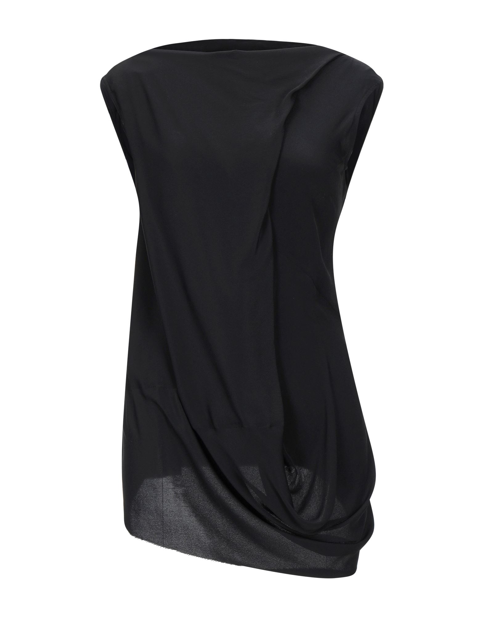 RICK OWENS Tops. crepe, laces, basic solid color, collar with draped neckline, sleeveless, no pockets, unlined, small sized. 62% Acetate, 38% Silk