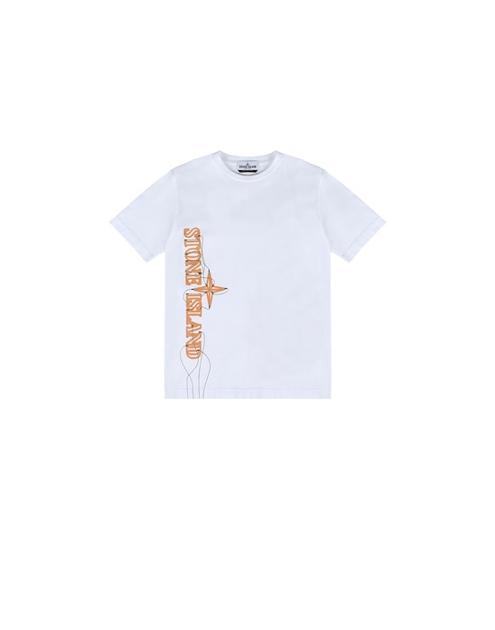 STONE ISLAND JUNIOR 21059 'NEON LIGHTS TWO' PRINT T-shirt manches courtes Homme Blanc