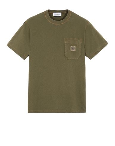 STONE ISLAND 21957 'FISSATO' TREATMENT  Short sleeve t-shirt Man Olive Green EUR 125