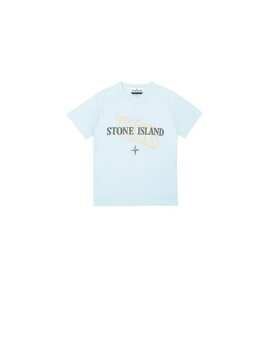 STONE ISLAND KIDS 21054 'SIGN LETTERING THREE' PRINT Short sleeve t-shirt Man Sky Blue USD 78