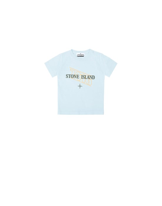 STONE ISLAND JUNIOR 21054 'SIGN LETTERING THREE' PRINT Short sleeve t-shirt Man Sky Blue