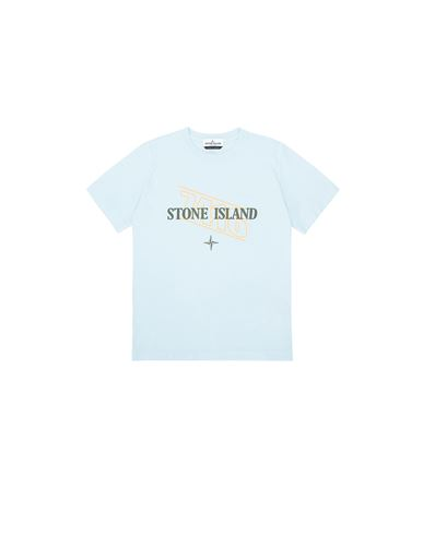 STONE ISLAND JUNIOR 21054 'SIGN LETTERING THREE' PRINT Short sleeve t-shirt Man Sky Blue USD 131
