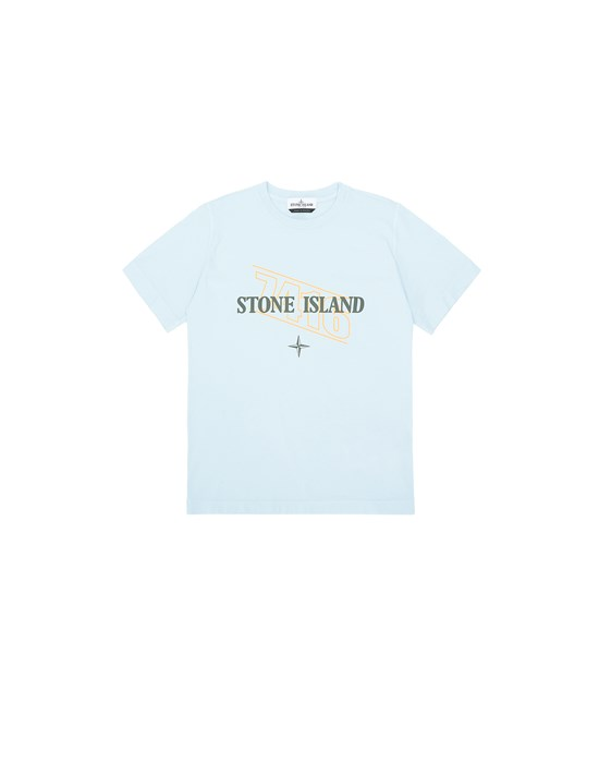STONE ISLAND JUNIOR 21054 STAMPA 'SIGN LETTERING THREE'  T-SHIRT A MANICHE CORTE Uomo Cielo
