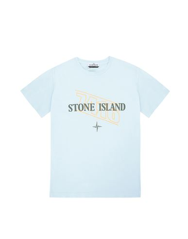 STONE ISLAND TEEN 21054 'SIGN LETTERING THREE' PRINT Short sleeve t-shirt Man Sky Blue EUR 91