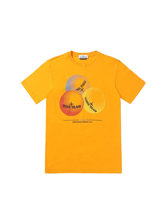 STONE ISLAND JUNIOR 21053 'BUBBLE GUM ONE' PRINT  T-Shirt Herr Orangefarben
