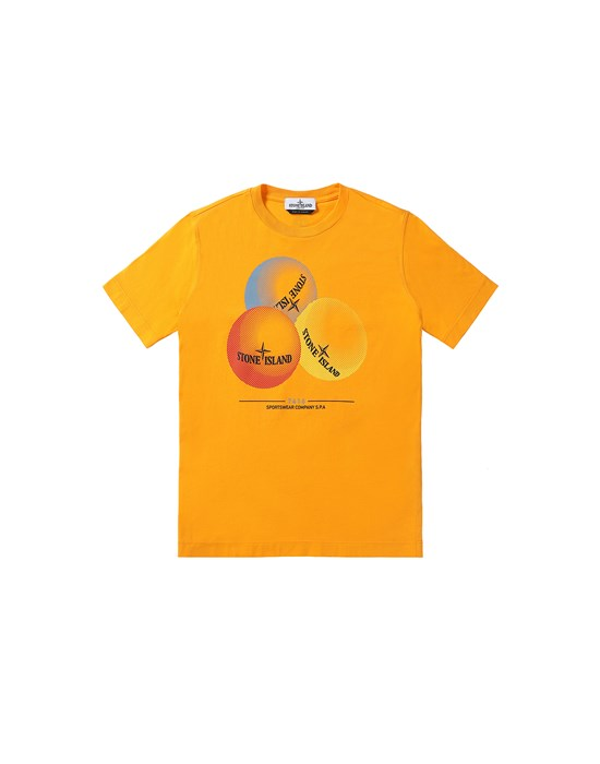 STONE ISLAND JUNIOR 21053 'BUBBLE GUM ONE' PRINT Short sleeve t-shirt Man Orange