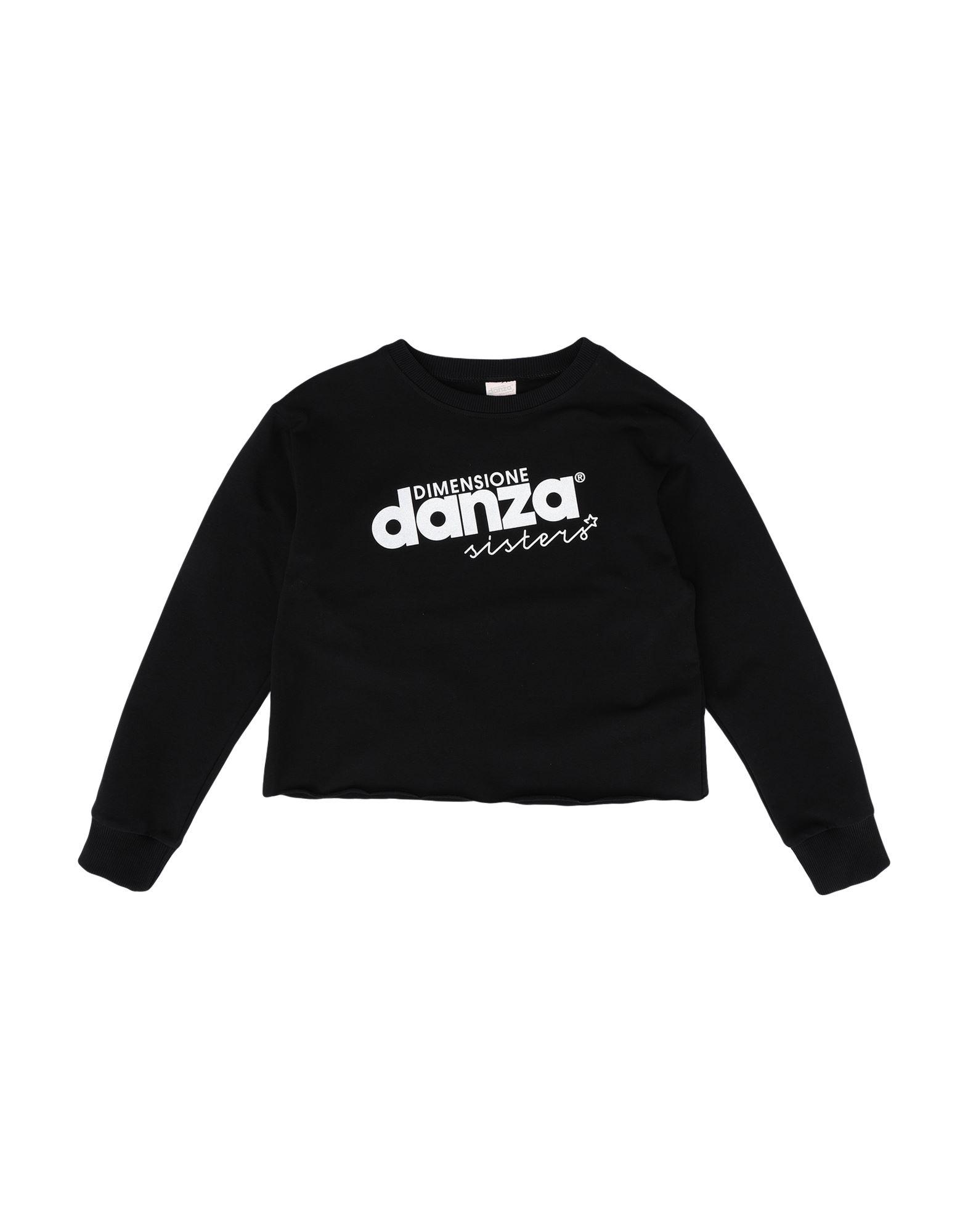 《セール開催中》DIMENSIONE DANZA SISTERS ガールズ 9-16 歳 スウェットシャツ ブラック 12 コットン 95% / ポリウレタン? 5% CROPPED SWEATSHIRT GIRL