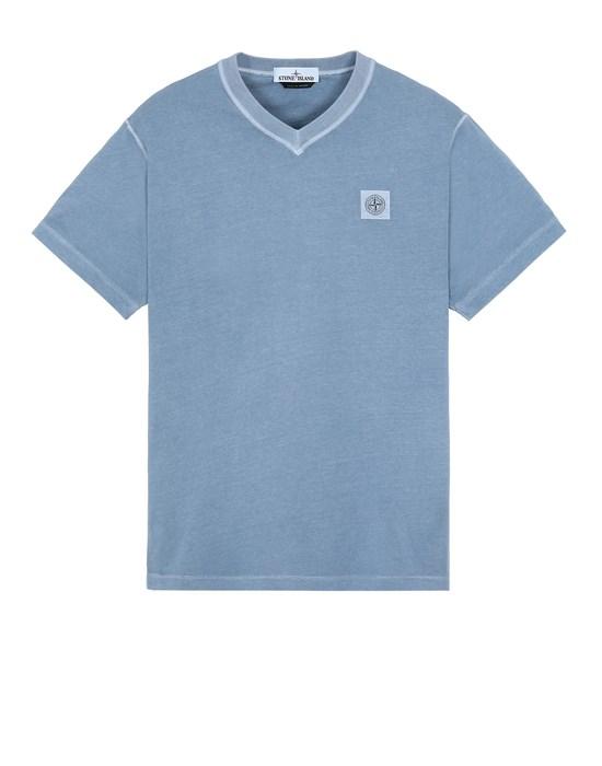 STONE ISLAND 23857 'FISSATO' TREATMENT  Short sleeve t-shirt Man Mid Blue