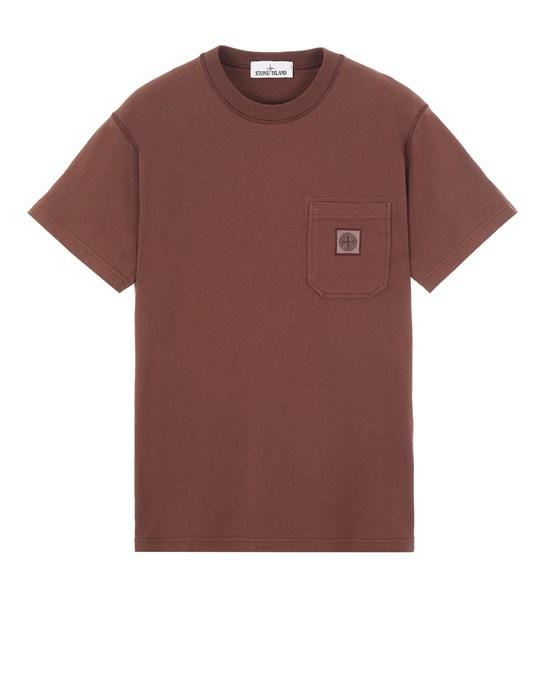 STONE ISLAND 21942 20/1 COTTON JERSEY, GARMENT DYED 'FISSATO' EFFECT_SLIM FIT 短袖 T 恤 男士 桃木棕色