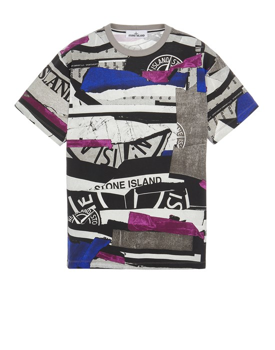 Short sleeve t-shirt Man 2NS88 COTTON JERSEY 'MIXED MEDIA ALL OVER' PRINT_SLIM FIT Front STONE ISLAND