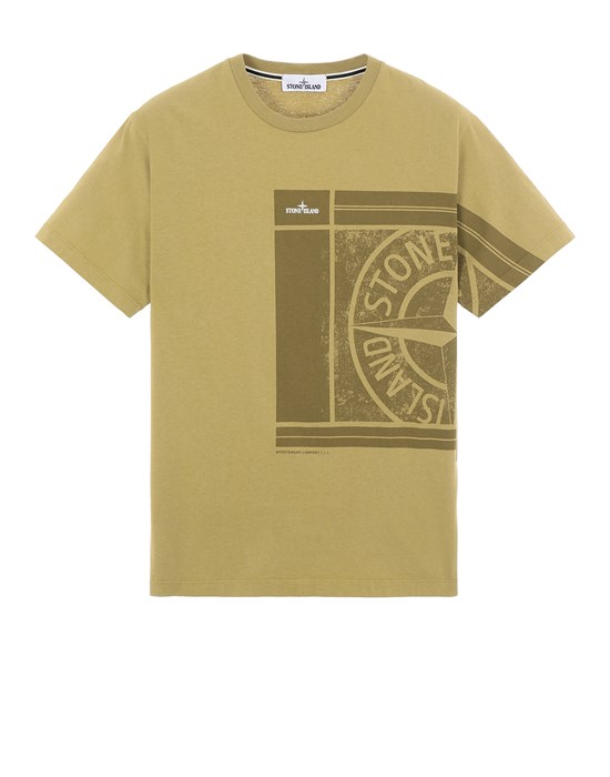 T-Shirt Herr 2NS81 COTTON JERSEY, 'MOSAIC FOUR' PRINT, GARMENT DYED_SLIM FIT Front STONE ISLAND