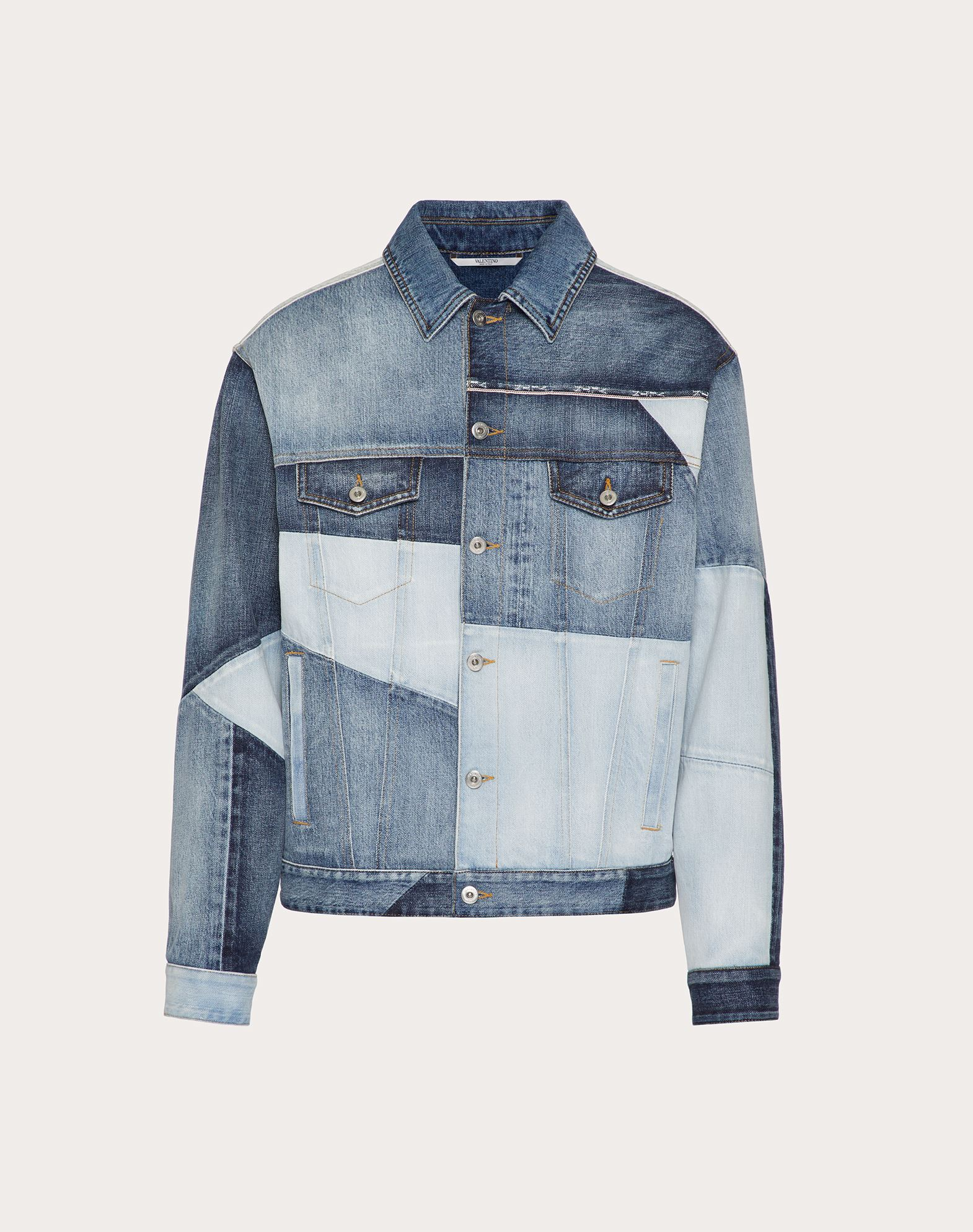 Valentino Uomo Denim Patchwork Jacket In Blue