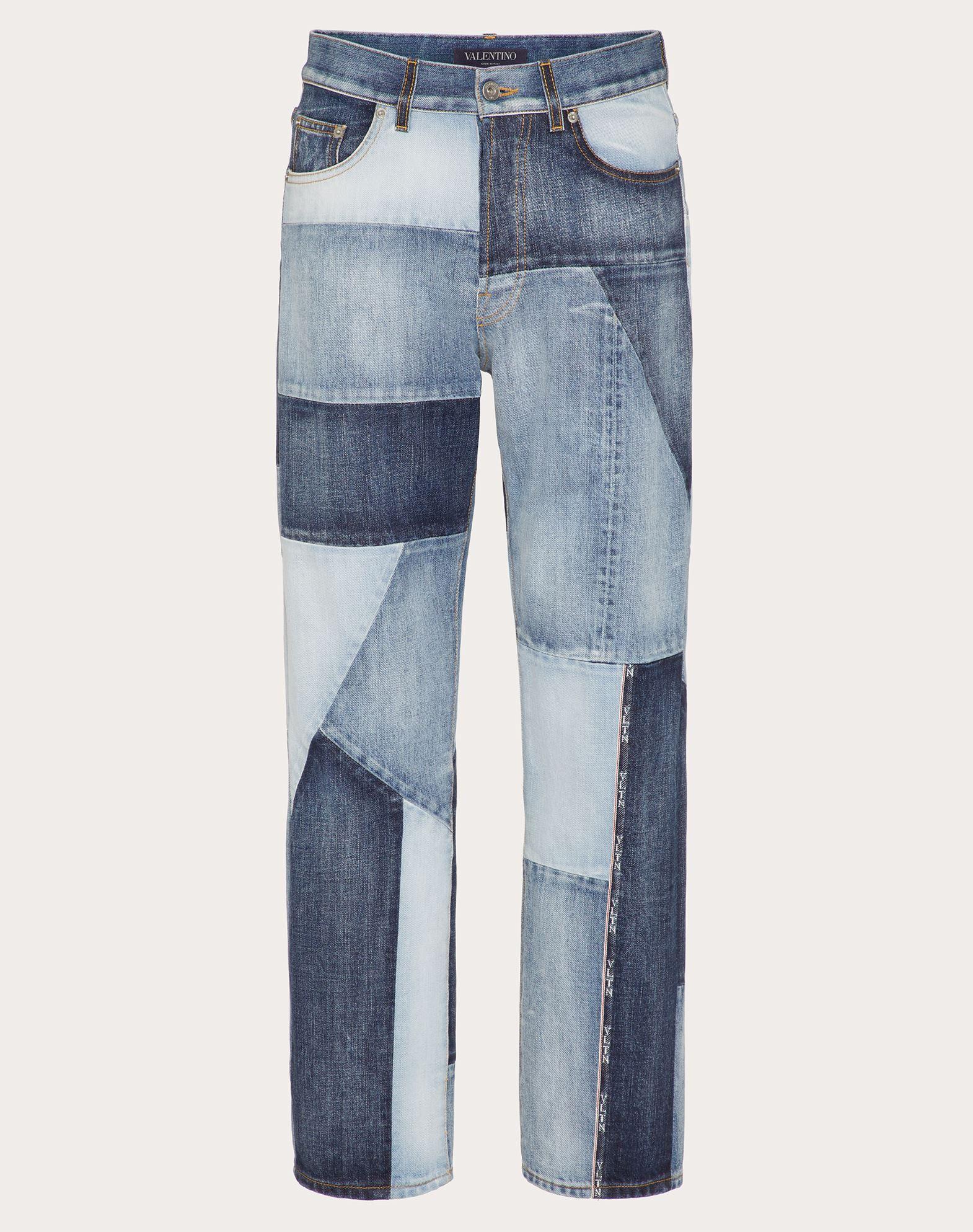 Valentino Uomo Denim Patchwork Pants In Blue