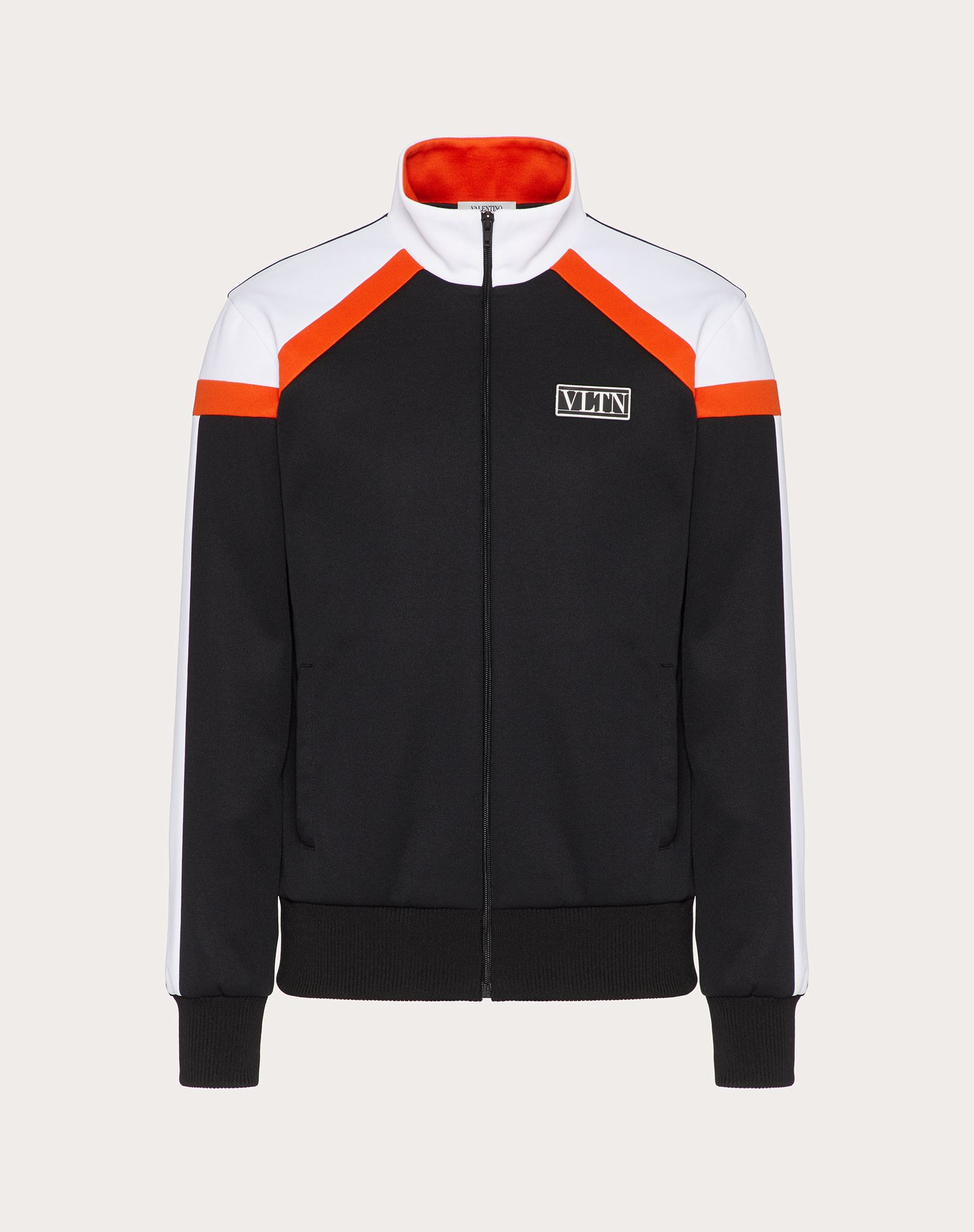 Valentino Uomo Technical Cotton Sweatshirt With Vltn Tag Color Block In Black/neon Orange