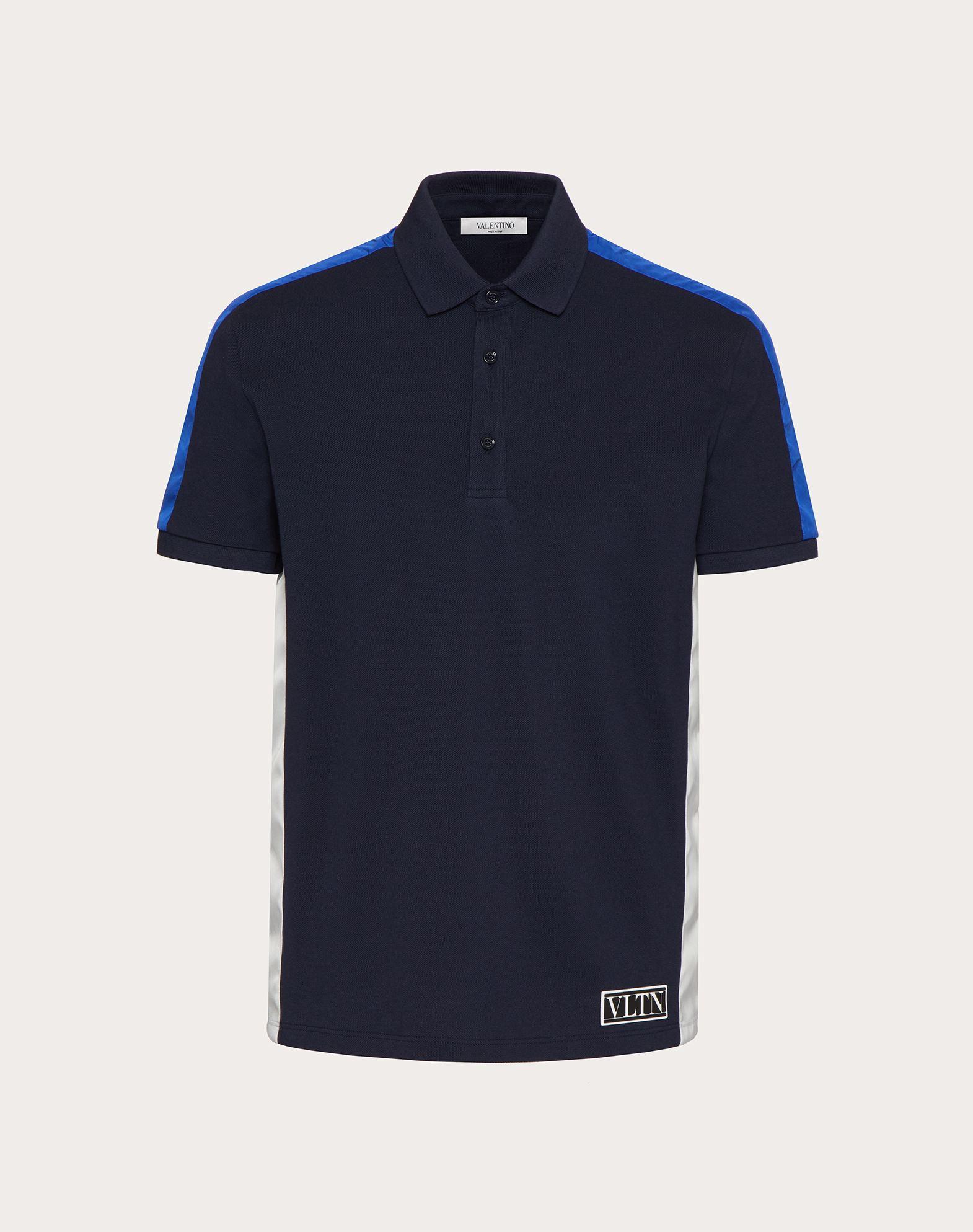 Valentino Uomo Poloshirt Aus Baumwolle Mit Vltn Tag In Color-blocking Herren Marineblau/blau Baumwol In Blue
