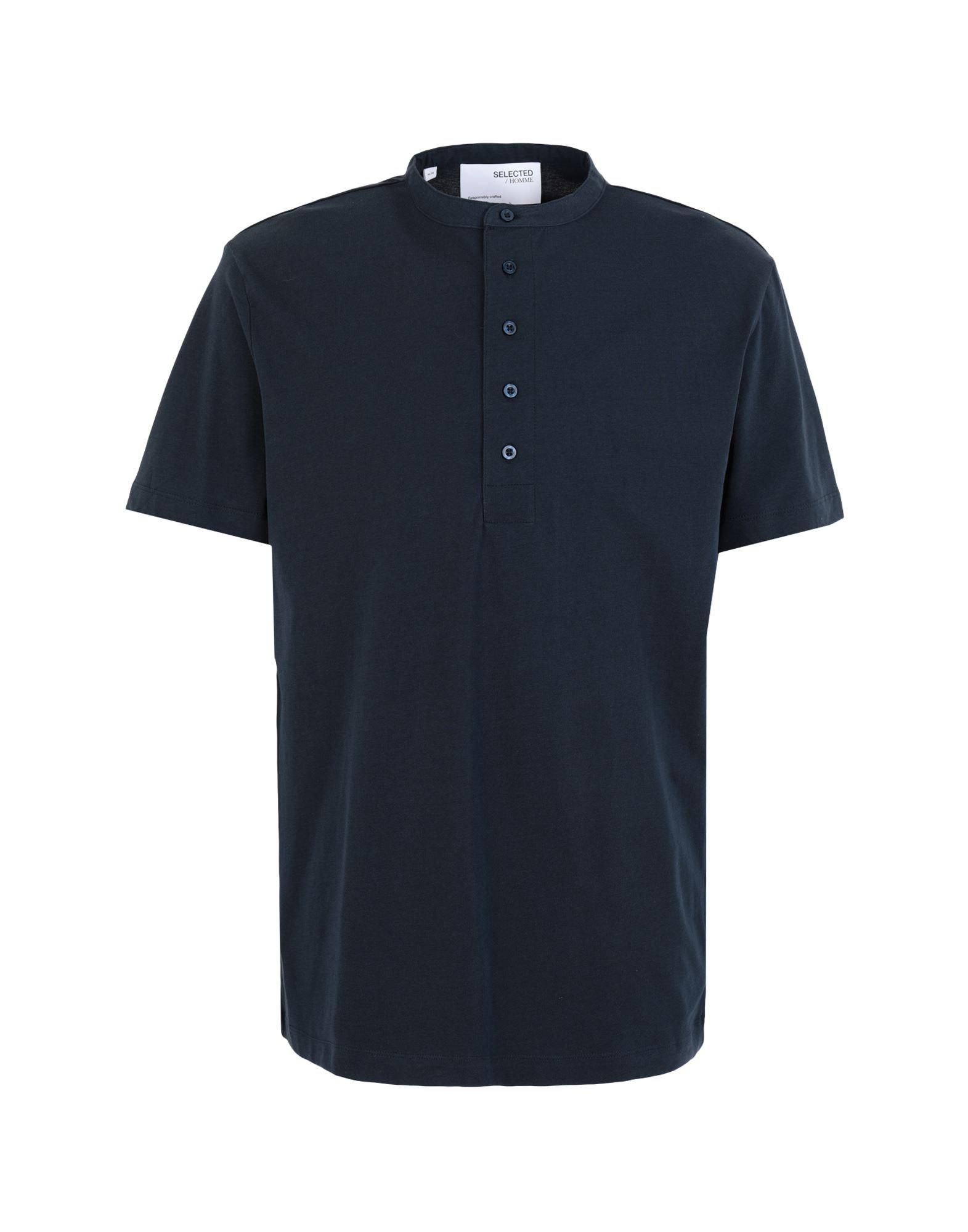《セール開催中》SELECTED HOMME メンズ T シャツ ダークブルー S オーガニックコットン 100% SLHRELAXVISTA SS POLO G