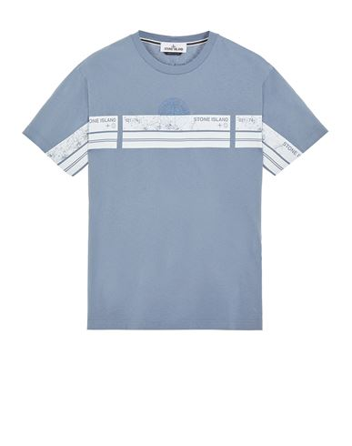 STONE ISLAND 2NS74 'BLOCK THREE' Short sleeve t-shirt Man Pastel Blue EUR 145