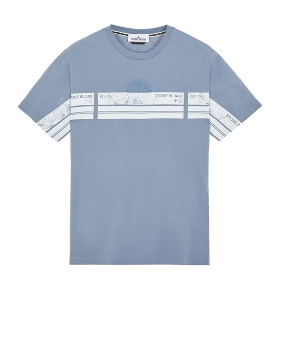 STONE ISLAND 2NS74 'BLOCK THREE' Short sleeve t-shirt Man Pastel Blue
