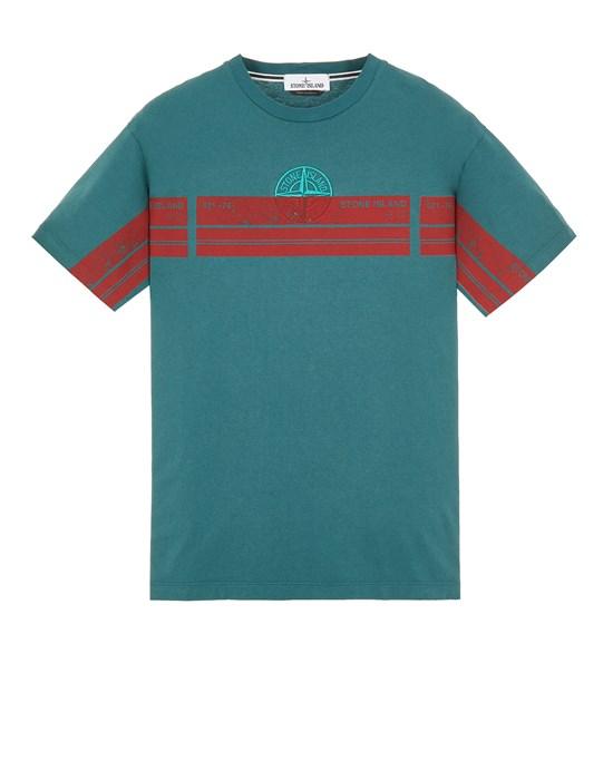 STONE ISLAND 2NS74 'BLOCK THREE' Short sleeve t-shirt Man Dark Teal Green