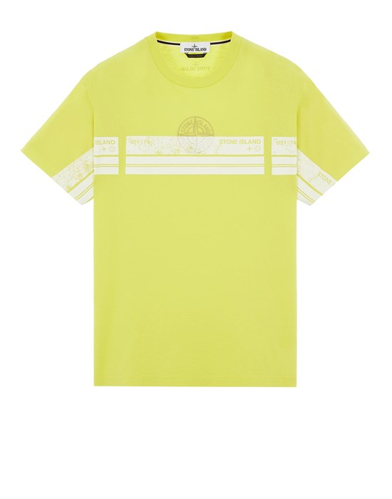 STONE ISLAND 2NS74 'BLOCK THREE' Short sleeve t-shirt Man Pistachio Green