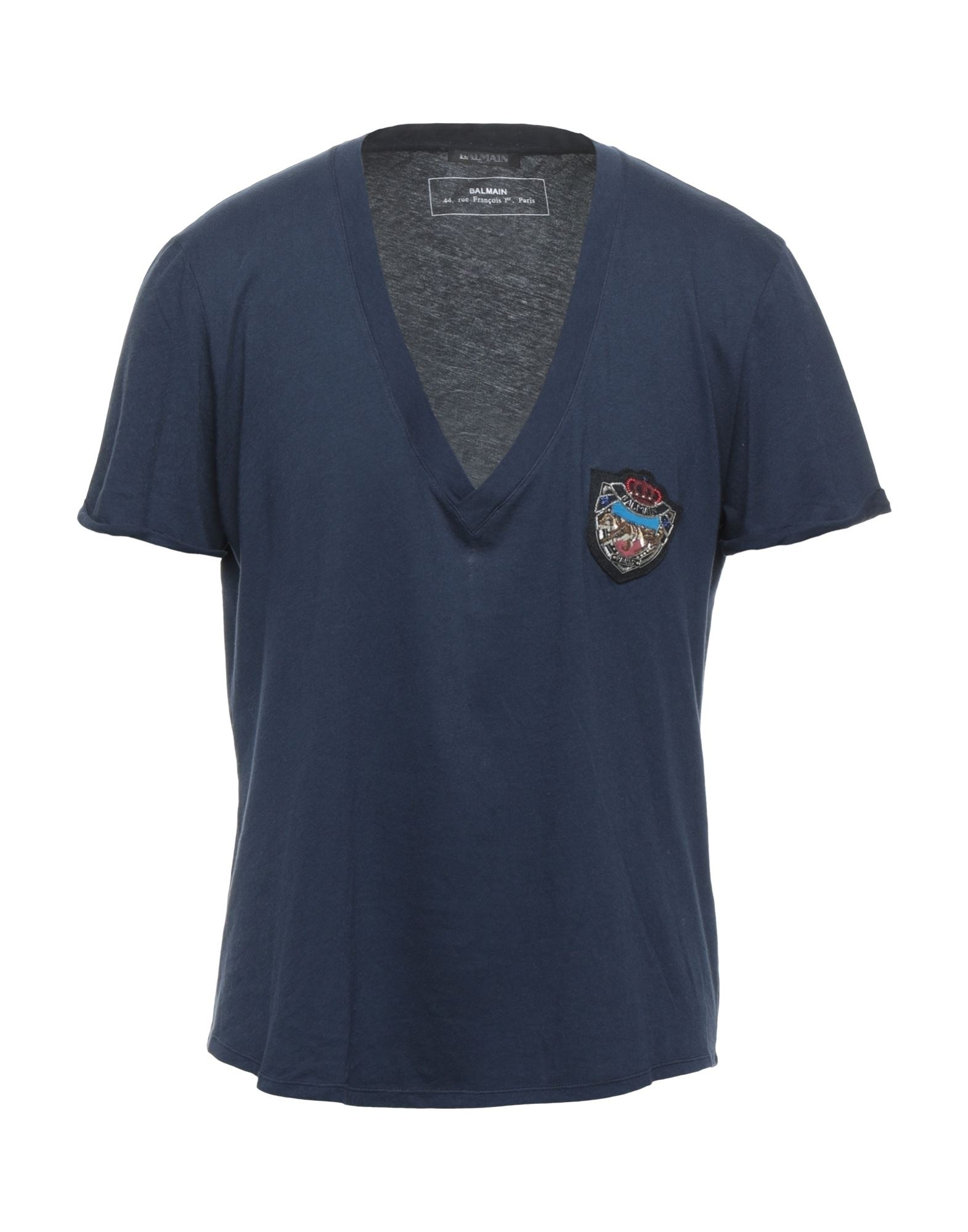 《セール開催中》BALMAIN メンズ T シャツ ダークブルー XS コットン 100% / 真鍮/ブラス / ウール / ガラス
