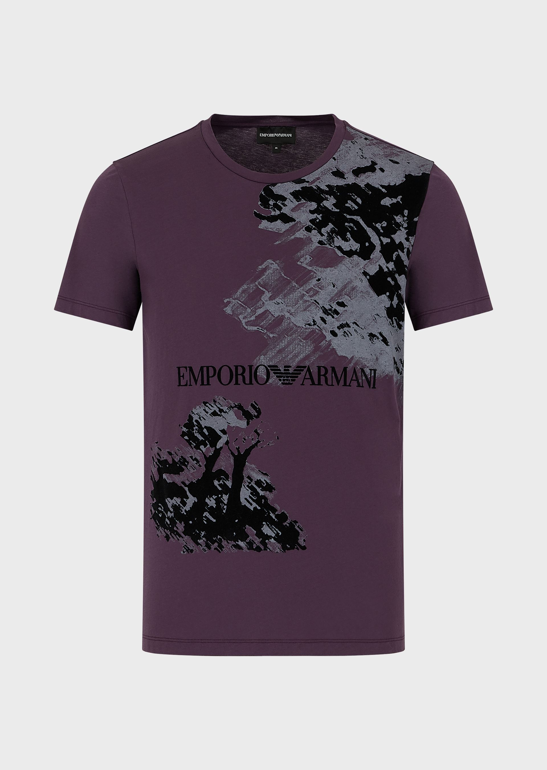 EMPORIO ARMANI Painting print light jersey T-shirt with flocked details