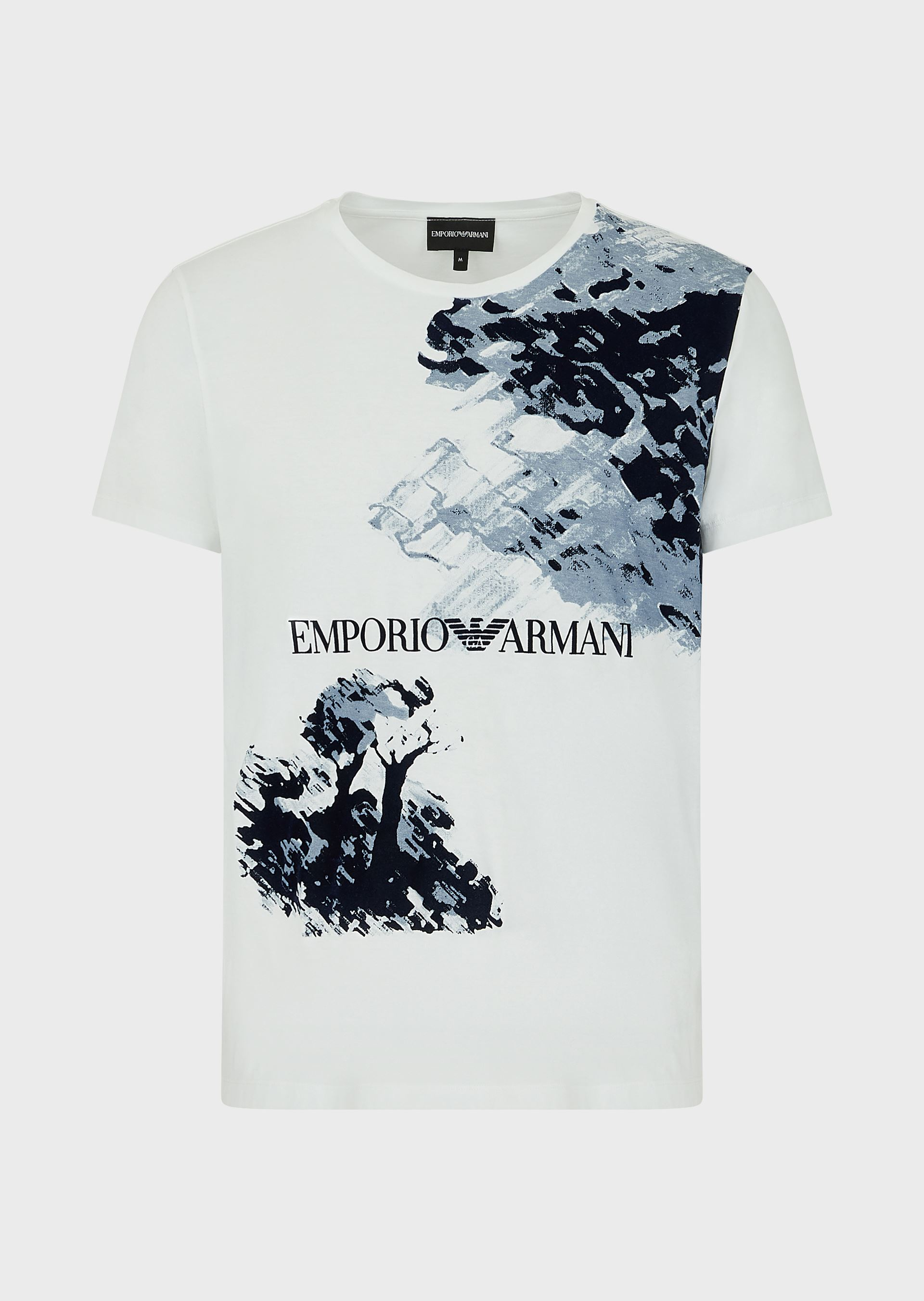 Se EMPORIO ARMANI Painting print light jersey T-shirt with flocked details ved Armani