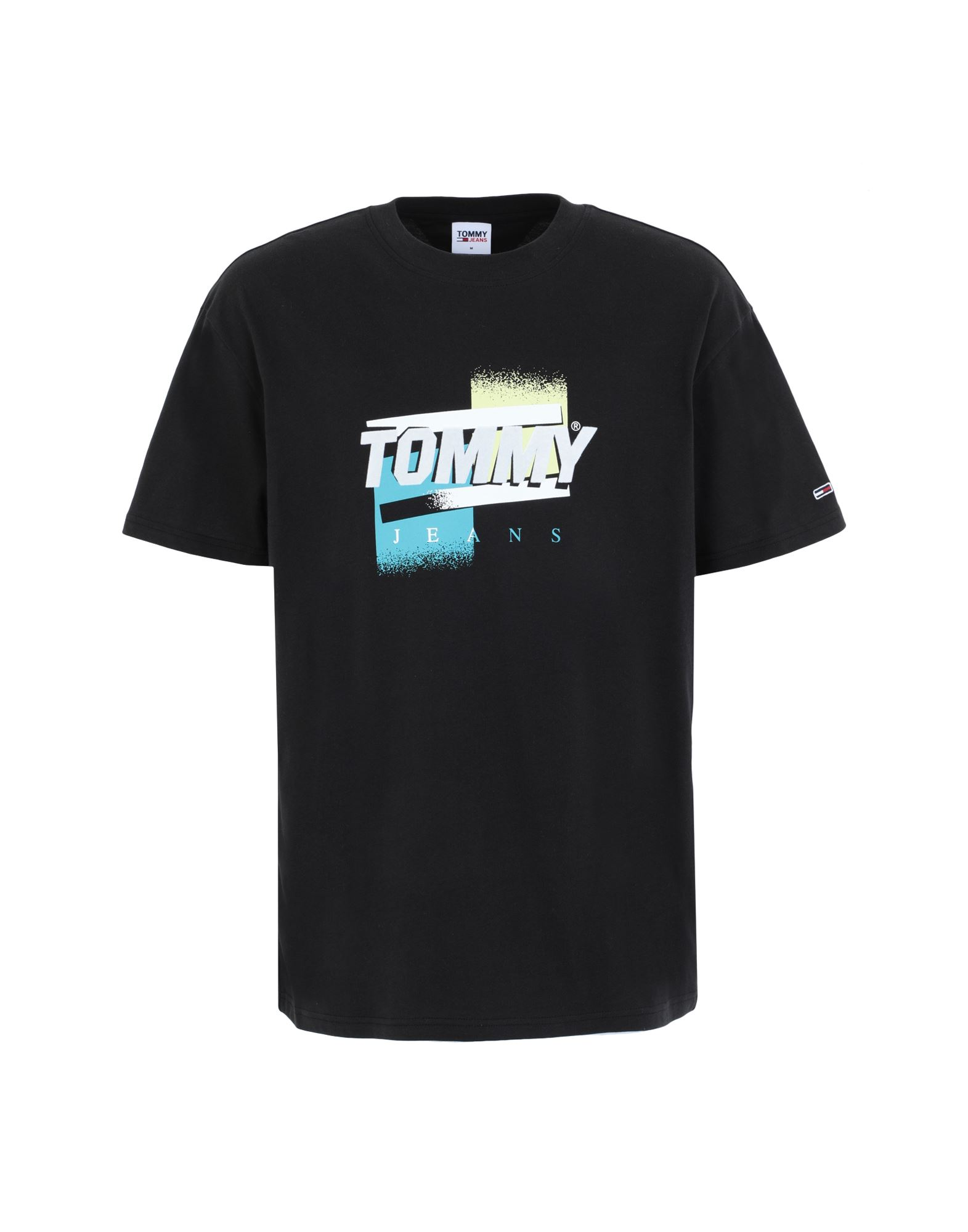 《セール開催中》TOMMY JEANS メンズ T シャツ ブラック S オーガニックコットン 100% TJM FADED COLOR GRAPHIC T-SHIRT