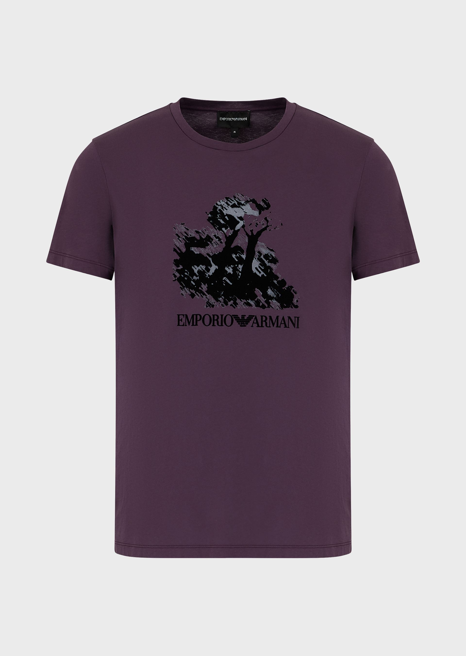 EMPORIO ARMANI Painting print light jersey T-shirt with flocking and logo