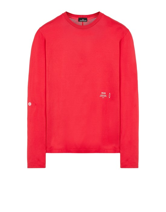 STONE ISLAND SHADOW PROJECT 20205 MERCERIZED JERSEY, GARMENT DYED_CHAPTER 1 & CHAPTER 2 Long sleeve t-shirt Man Red