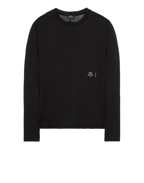STONE ISLAND SHADOW PROJECT 20205 MERCERISED JERSEY, GARMENT DYED_CHAPTER 1 & CHAPTER 2 Long sleeve t-shirt Man Black