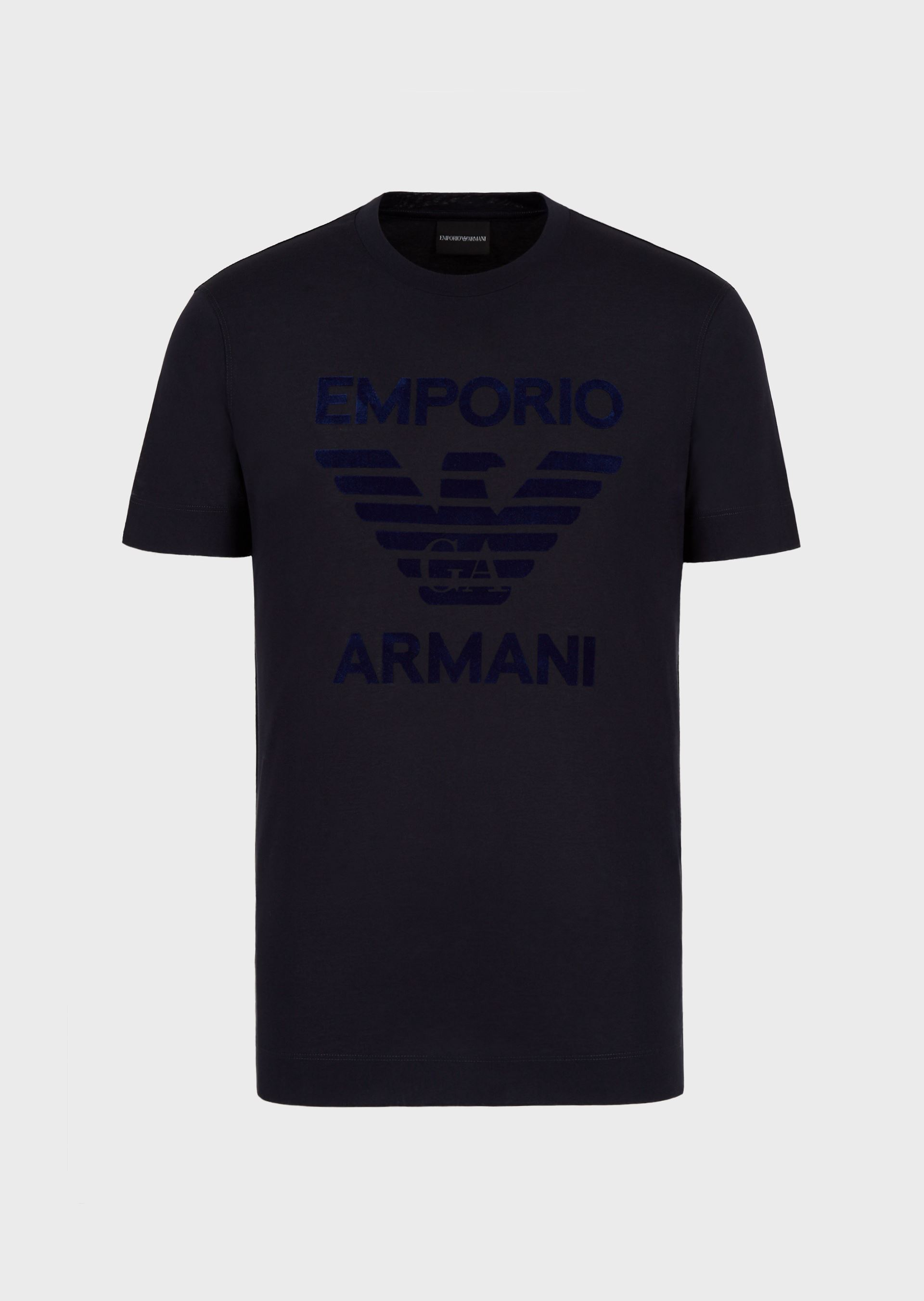 EMPORIO ARMANI Jersey T-shirt with flocked eagle print