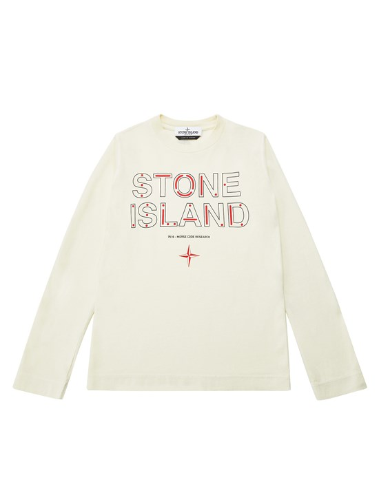 STONE ISLAND JUNIOR 21152 'MORSE CODE ONE' Long sleeve t-shirt Man Butter